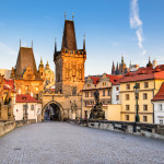 Prague, Czech Republic. Charles Bridge with its statuette, Lesser Town Bridge Tower and the tower of the Judith Bridge.
